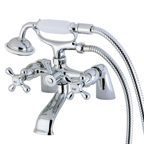 Kingston Brass Chrome Deck Mount Clawfoot Tub Faucet w Hand Shower KS267C