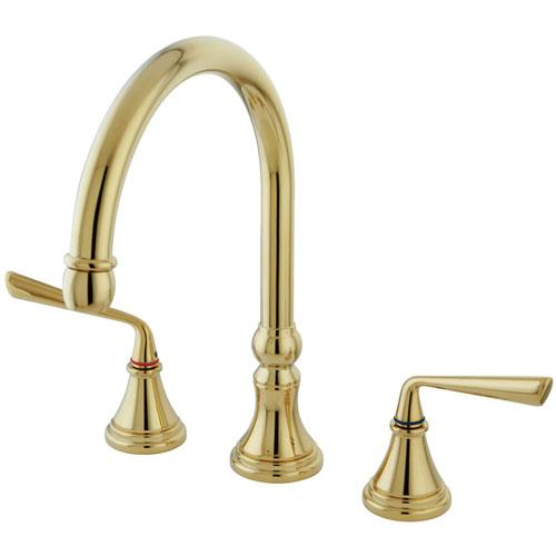 Kingston Polished Brass Widespread Kitchen Faucet Without Sprayer KS2792ZLLS