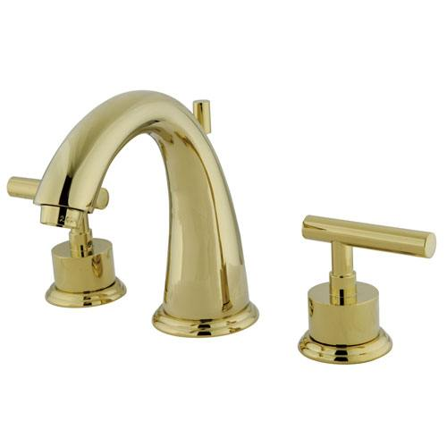 Kingston Polished Brass Manhattan widespread Bathroom faucet w drain KS2962CML