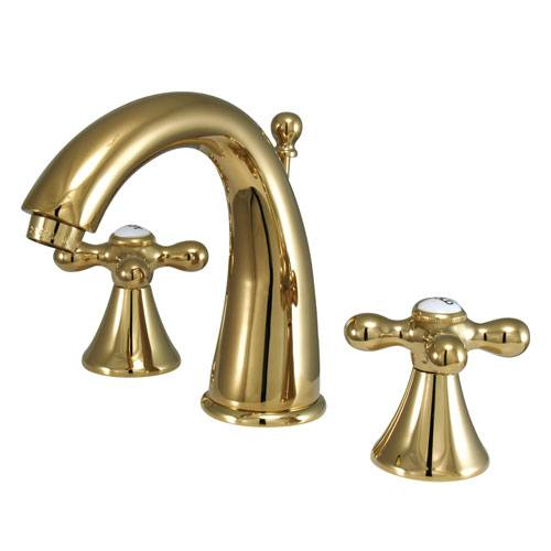 Kingston Polished Brass 2 Handle Widespread Bathroom Faucet w Pop-up KS2972AX