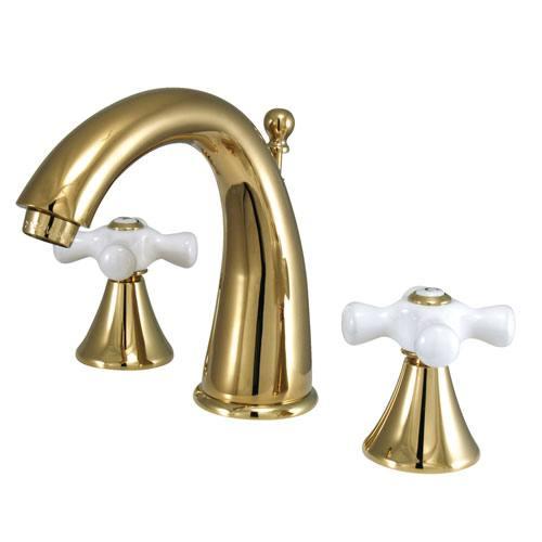Kingston Polished Brass 2 Handle Widespread Bathroom Faucet w Pop-up KS2972PX