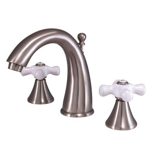 Kingston Satin Nickel 2 Handle Widespread Bathroom Faucet w Pop-up KS2978PX