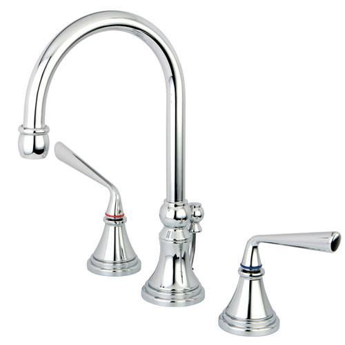 Kingston Brass Silver Sage Chrome Widespread Bathroom Faucet W/ Pop-Up KS2981ZL