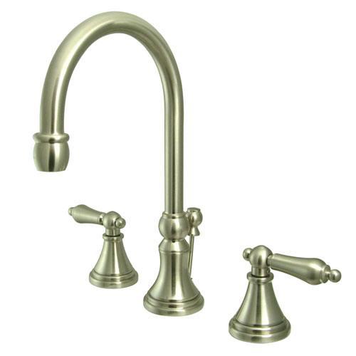 Kingston satin nickel 2 handle widespread bathroom faucet w pop up ks2 for Satin nickel widespread bathroom faucet