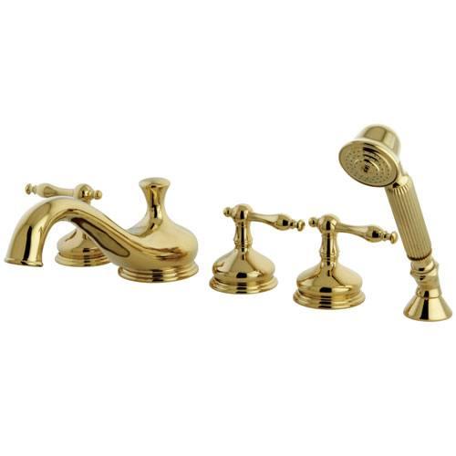 Polished Brass 3 handle Roman Tub Filler Faucet w/ Hand Shower KS33325NL