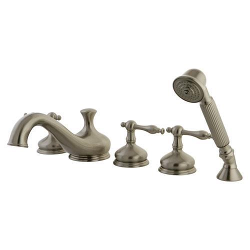 Satin Nickel 3 handle Roman Tub Filler Faucet with Hand Shower KS33385NL