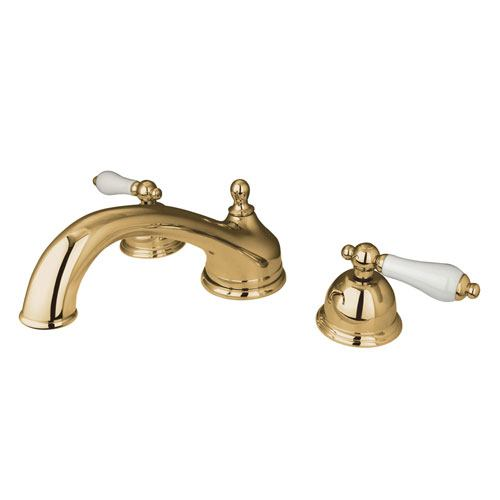 Kingston Polished Brass Vintage Two Handle Roman Tub Filler Faucet KS3352PL