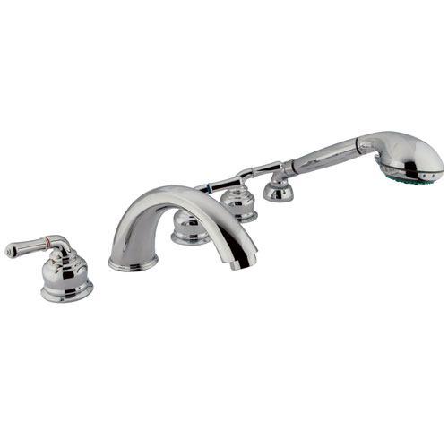 Kingston Chrome Magellan roman tub filler faucet w hand shower KS3615MHS