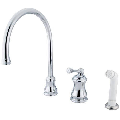 Kingston Chrome Single Handle Widespread Kitchen Faucet with Sprayer KS3811BL