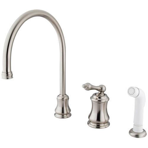 Satin Nickel Single Handle Widespread Kitchen Faucet with Sprayer KS3818AL