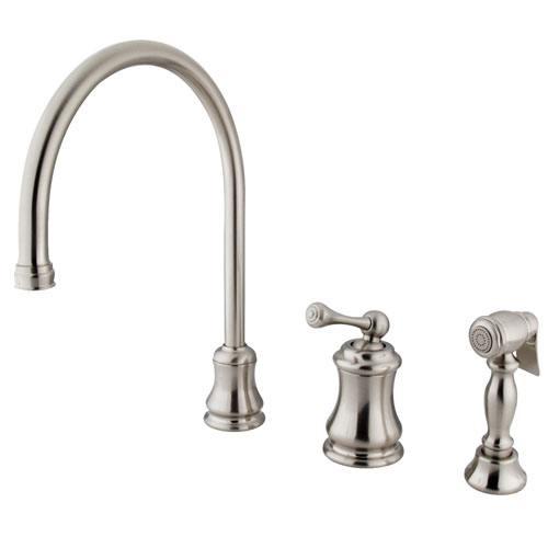 Satin Nickel Single Handle Widespread Kitchen Faucet w Side spray KS3818BLBS