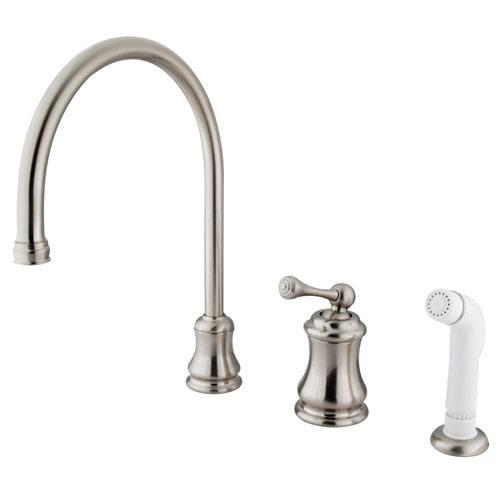 Satin Nickel Single Handle Widespread Kitchen Faucet with Sprayer KS3818BL