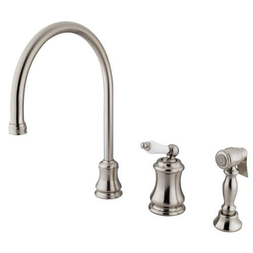 Satin Nickel Single Handle Widespread Kitchen Faucet w Sprayer KS3818PLBS