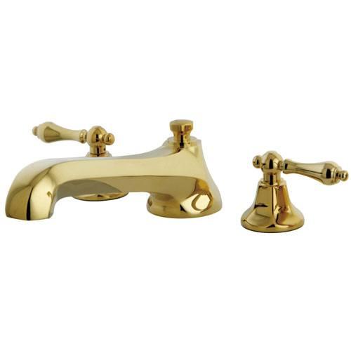 Kingston Polished Brass Metropolitan Two Handle Roman Tub Filler Faucet KS4302AL