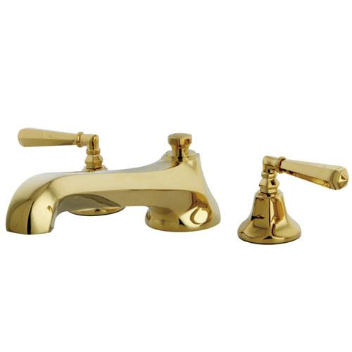 Kingston Polished Brass Metropolitan Two Handle Roman Tub Filler Faucet KS4302HL