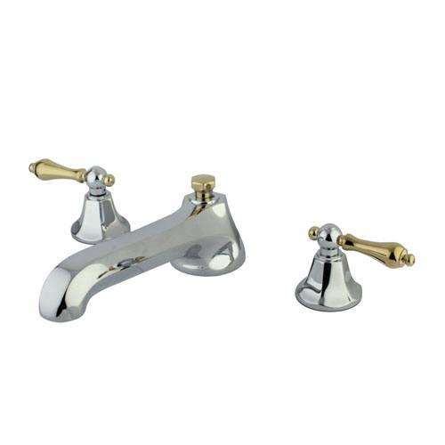 Kingston Chrome/Polished Brass Metropolitan Roman Tub Filler Faucet KS4304AL