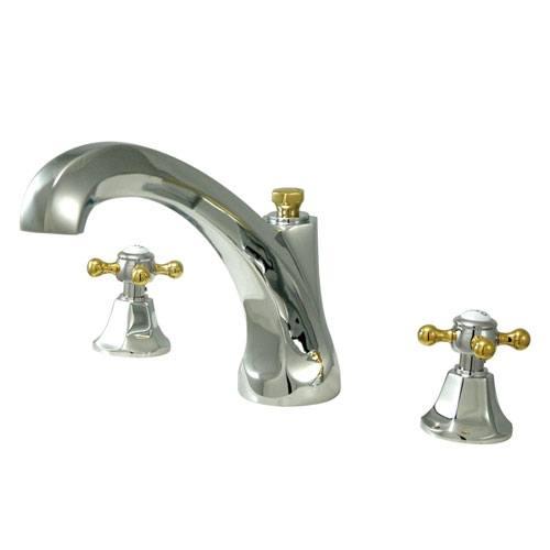 Kingston Chrome / Polished Brass Metropolitan Roman Tub Filler Faucet KS4324BX