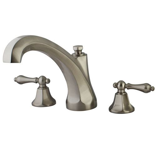 Kingston Satin Nickel Metropolitan Two Handle Roman Tub Filler Faucet KS4328AL