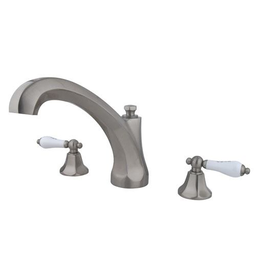 Kingston Satin Nickel Metropolitan Two Handle Roman Tub Filler Faucet KS4328PL