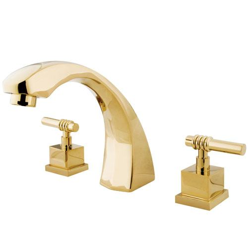 Kingston Polished Brass Fortress Two Handle Roman Tub Filler Faucet KS4362QL