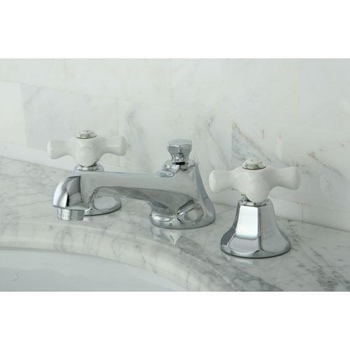 Kingston Brass Chrome 2 Handle Widespread Bathroom Faucet w Pop-up KS4461PX