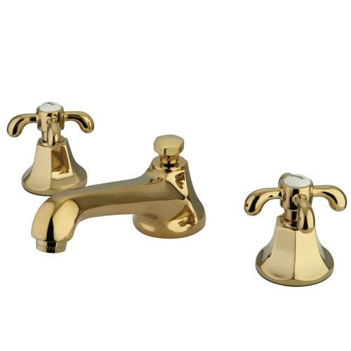 Kingston Brass Polished Brass French Country Widespread Bathroom Faucet KS4462TX