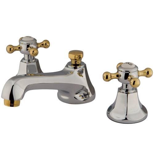 Kingston Chrome/Polished Brass Widespread Bathroom Faucet w Pop-up KS4464BX