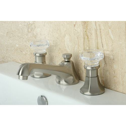 Kingston Satin Nickel 2 Handle Widespread Bathroom Faucet w Pop-up KS4468WCL