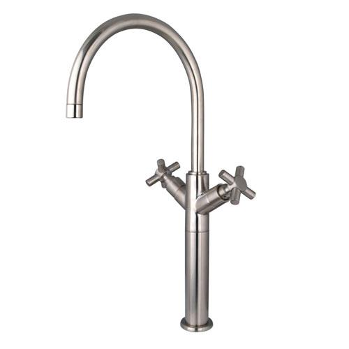 Kingston Brass Concord Satin Nickel Cross Handle Vessel Sink Faucet KS8068JX