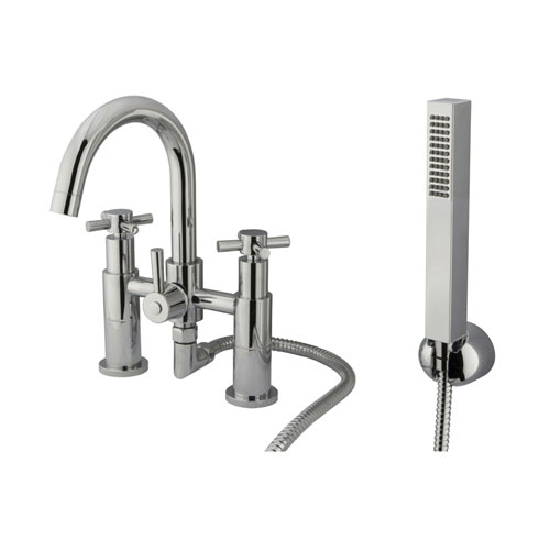 Chrome Two Handle Deck-mount Roman tub filler faucet w/ Hand Shower KS8251EX