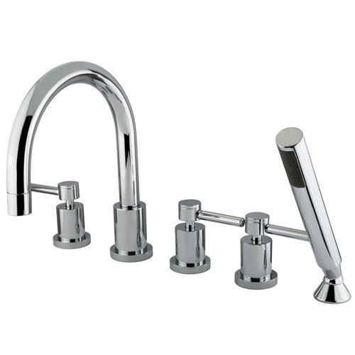 Kingston Brass Concord Chrome Roman tub filler faucet w/ Hand Shower KS83215DL