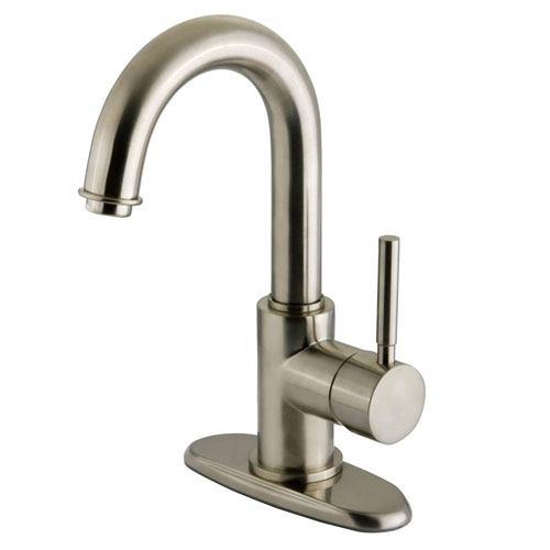 Kingston Concord Satin Nickel 1 Handle Bathroom Faucet w/ Push-up Drain KS8438DL