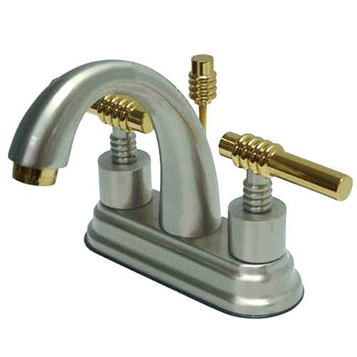 Kingston Brass Chrome/Polished Brass Centerset Bathroom Faucet w Pop-up KS8614ML