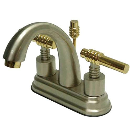 Kingston Satin Nickel/Polished Brass Centerset Bathroom Faucet w Pop-up KS8619ML
