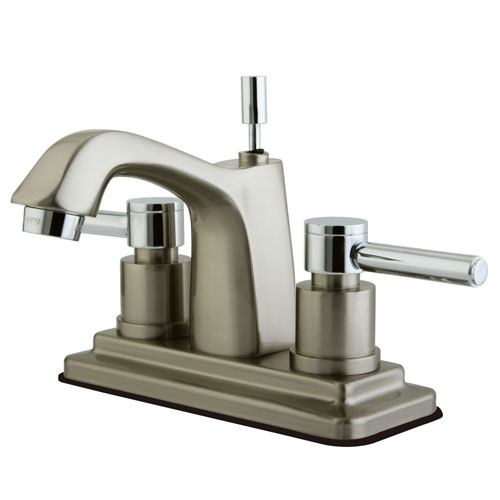 Kingston Brass Satin Nickel/ Chrome Centerset Bathroom Faucet w Pop-up KS8647DL