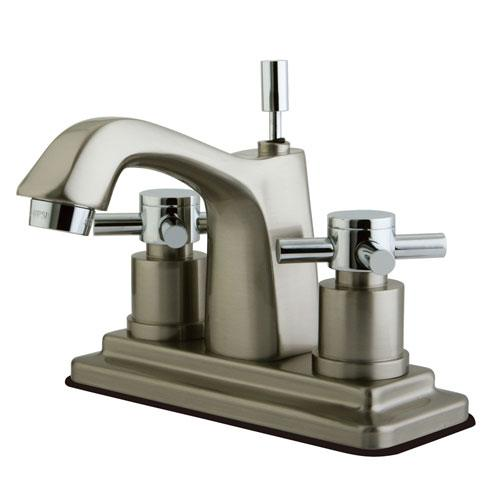 Kingston Brass Satin Nickel/ Chrome Centerset Bathroom Faucet w Pop-up KS8647DX