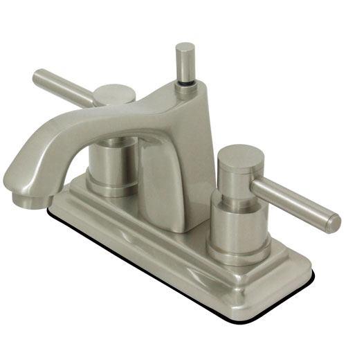 Satin Nickel Two Handle Centerset Bathroom Faucet w/ Brass Pop-Up KS8648DL