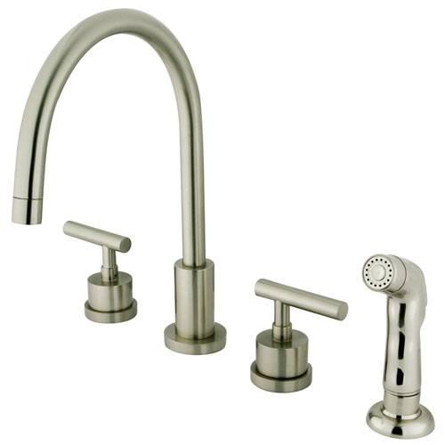 Kingston Satin Nickel Manhattan widespread kitchen faucet with spray KS8728CML