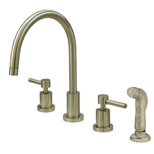 Satin Nickel Two Handle Widespread Kitchen Faucet Matching Sprayer KS8728DL