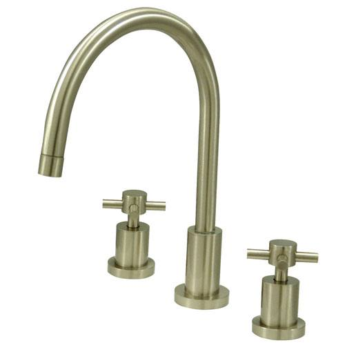 Kingston Brass Concord Satin Nickel 2 Hdl Widespread Kitchen Faucet KS8728DXLS