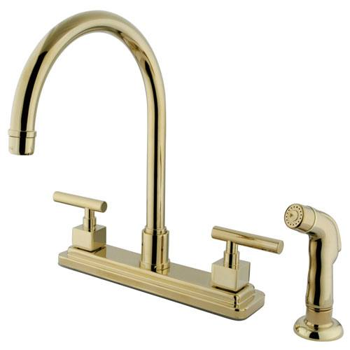 Claremont Polished Brass Two handle 8