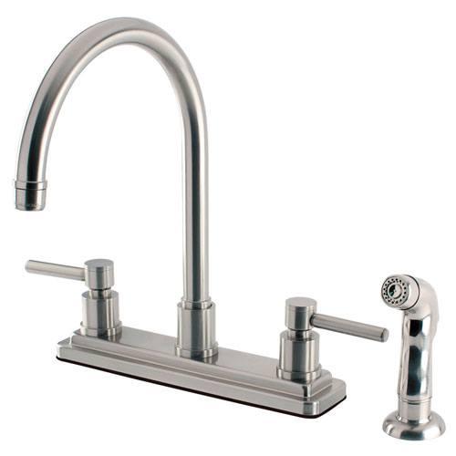 Kingston Brass Concord Satin Nickel 2 Handle Kitchen Faucet w/ Sprayer KS8798DL