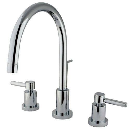 Kingston Concord Chrome 2 Handle Widespread Bathroom Faucet w/drain KS8921DL