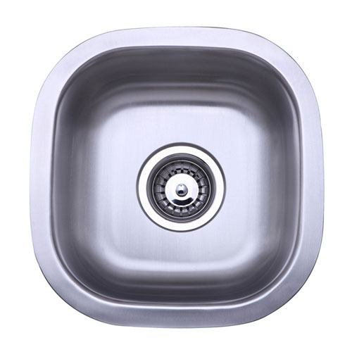 Kingston Brushed Nickel Gourmetier Single Bowl Undermount Kitchen Sink KU12125BN