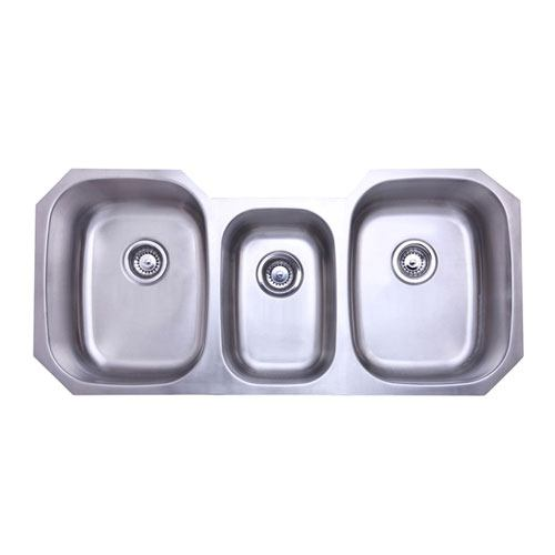 Kingston Brushed Nickel Denver Triple Bowl Undermount Kitchen Sink KU5021969TBN