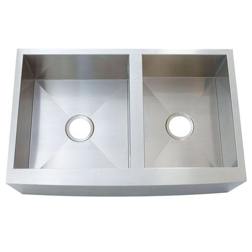 Brushed Nickel Double Bowl Farmhouse Undermount Kitchen Sink KUF3321108DBN