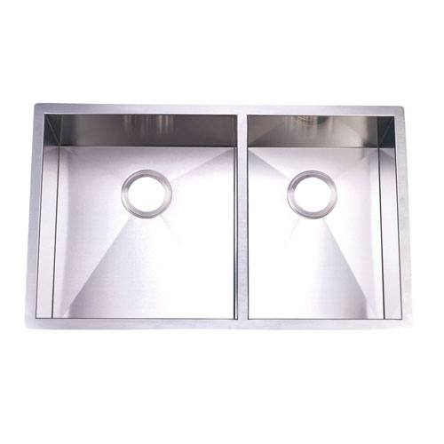 Brushed Nickel Gourmetier Double Bowl Undermount Kitchen Sink KUS332010DBNL