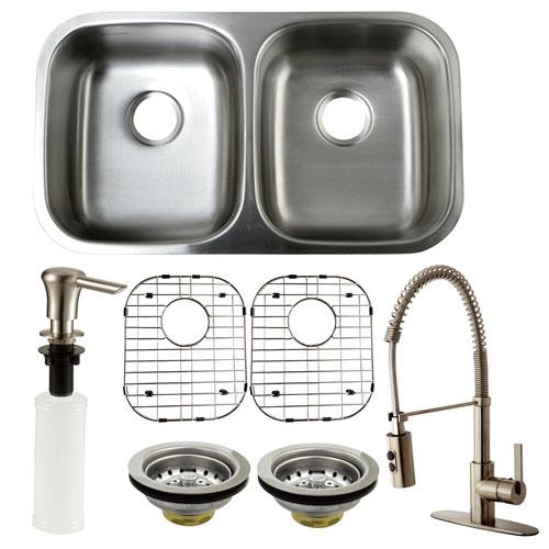 Stainless Steel Undermount Double Bowl Kitchen Sink, Faucet and Accessory Combo