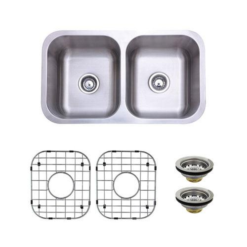 Stainless Steel Undermount Double Bowl Kitchen Sink Package w/ Strainer & Grid