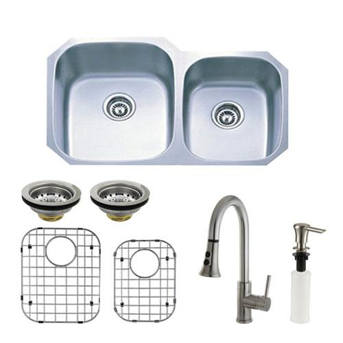 Stainless Steel Undermount Double Bowl Kitchen Sink, Faucet, Accessory Combo KZGKUD3221PF